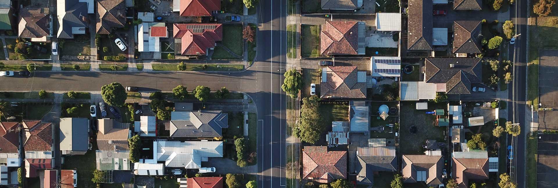 overhead aerial view of residential neighbourhood